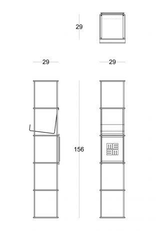 Libreria modulare da parete Libro Verticale disegno tecnico