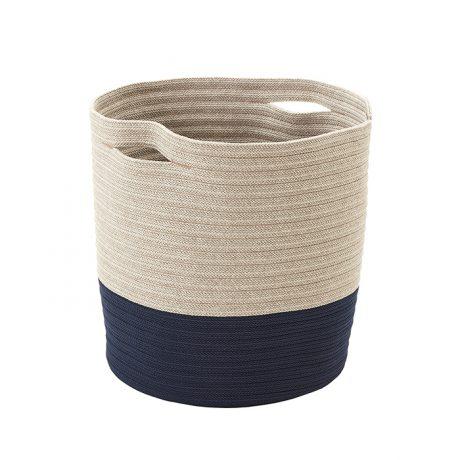 Cesto in tessuto portavasi ETTORE di MEMEDESIGN bicolor blu e canapa
